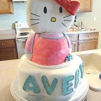 Hello Kitty Cake My daughter's 4th birthday cake. Lower tier is chocolate. Kitty's body is carved white cake and her head is styrofoam. Covered/...