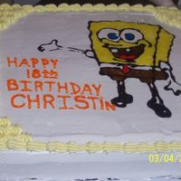 Spongebob This is a confetti cake with bc icing that my daughter ask me to make for her friends 18th birthday. The image was transferred on with...
