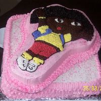 Dora The bottom cake is a 12x12 french vanilla cake, and Dora is Strawberry swirl. The icing is bc, and the skintone is Wilton chocolate (brown...