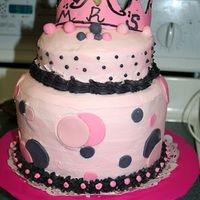 Princess And Polkadots The Mom requested a Princess cake with black and pink(s) plus polka-dots. I went hog wild with this cake and learned so much about fondant...