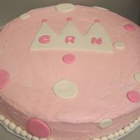 "1St Birthday Princess Style A simple 1st birthday 12"" strawberry cake decorated with fondant and buttercream icing."