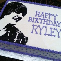 Justin Bieber Cake   Justin Bieber Cake done for a childs birthday party. Single layer chocolate cake with bc icing. Picture is a FBCT.
