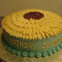 "Sunflower Birthday Cake   10"" cake - all buttercream"