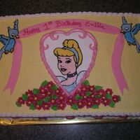 Pretty Princess Birthday  This is a 1/2 sheet two layer white with chocolate filling cake. Iced in buttercream with fondant accents. Cinderella is a FBCT. My second...