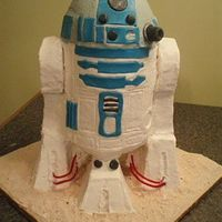 R2D2 Birthday Cake   Hi - This is a cake I made for my nephew. He is a huge star wars fan and he loved it! BC/fondant