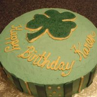 St. Patricks Day Birthday Cake Cake i did for a coworker, frosted in bc with fondant accents. was a quickie...
