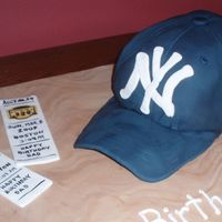 Yankee Hat Birthday Cake My first hat cake. Requested by a friend to resemble a well worn, wrinkled hat. Was for his dad's birthday. Hat is yellow cake with a...
