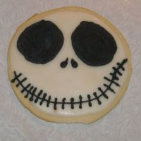 Jack Skellington Another practice cookie of my favorite cartoon movie star.Covered in cookie icing and detailed in royal icing.