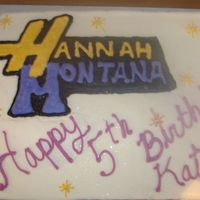 Hannah Montana This is a cake I did for a friend. Its all buttercream with edible glitter. I hate writting on cake!