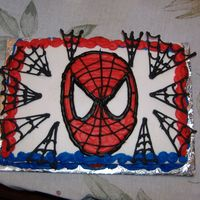 Spiderman This was for my cousins birthday. The webs are royal icing. The rest is buttercream.