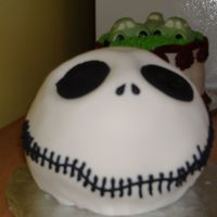 "Jack Skellington This is a 6"" ball pan covered in MMF. I absolutely love Nightmare Before Christmas so this was my own birthday cake! It was a..."