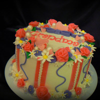 "My Mother's 71St Birthday Cake This is an 8"" WASC filled with cream cheese and strawberries with buttercream icing. It tasted heavenly! The accents are candy clay. I..."