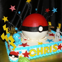 Chris' Pokemon Cake  Getting caked out at this point, thus the toys...but the birthday boy was super thrilled to get them! The bottom cake is a 9 X 13 white...