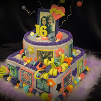 "Taylor And Lily's Sweet Sixteen Bottom square is 2 10"" layers of yellow cake with real strawberry filling. Top round is a single layer 3"" chocolate with BC..."
