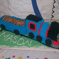 Thomas The Train Thomas the train pound cake covered in buttercream