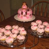 Mommy-To-Be 6 inch round cake with mommy-to-be on top (inspired by cakes from pink cake box) and matching cupcakes.