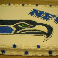 Seahawks Cake I made this cake for the dining hall where i work. I was in a hurry but i think it went ok.