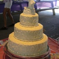 My Second Wedding Cake This was for my brothers wedding. It was my first stacked-tiered cake. They picked the design of it and didn't want any flowers on it...