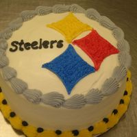 Steeler Cake I made this cake for my family, who are major Steeler fans. It was just a last minute cake i decided to make.