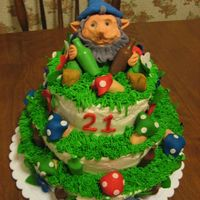 21St Birthday Gnome Cake I made this cake for my daughters 21st birthday.She has a gnome that her and her friends take everywhere with them. They take pictures with...