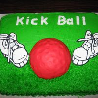 Kick Ball sneakers are color flow, ball is fondant, and cake is buttercream