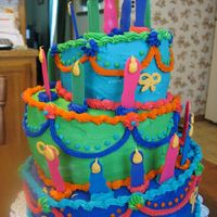 Whimsical Cake Top and bottom layer's are chocolate cake, middle cake is vanilla. center is cookies and cream. Made this for my daughters birthday....