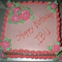 Pink Roses ButterCream with Strawberry Sponge Cake.