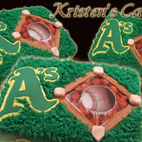 A's Team Cake - Spring 2009 Cake for team party. Baseball image is edible printout. Bases and A's symbol are fondant. All rest is BC.