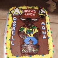 "Good Luck Cake Cake made for a dual ""farewell"" party at an office. Bull logo in center is logo for the radio station they worked for. Cake is..."