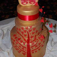 Tree Of Love This cake was based on the wedding invitations that the bride designed and hand printed. Tree is stamped/painted on the cake with little...