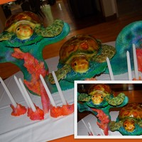 Tasty Turtles On Coral Stand was created out of MDF (wood) and covered in RKT and airbrushed. Turtles were carved and airbrushed, flippers were RKT as well.