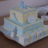 Sta43951.jpg all buttercream with fondant accents. baby blocks iced in fondant