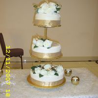 First Wedding Cake this is my first attempt at a wedding cake and it was a disaster. the plan was for the cakes to be placed on pillars but i was not able to...