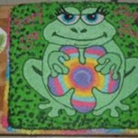 Step-Daughter's 13Th Birthday Cake My step-daughter loves frogs and this was a fun one to do. The multi-colored border was created by using all the colors from in the flower...
