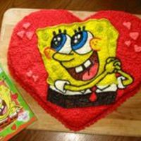 Spongebob Valentines Cake Cake I did for my daughter's Girl Scout Valentines Day party. Freehanded the image from outlines I drew on the cake with paintbrush...