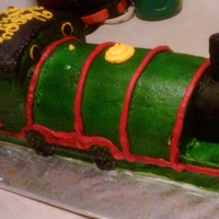"Thomas The Train ""percy"" all buttercream icing....the child was turning ""2"" so I put the 2 on the side of the train rather Percy's real number"