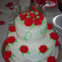 My First Wedding Cake This was a golden butter cake with buttercream icing and roses.