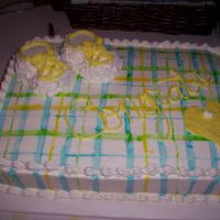 Baby Shower Cake   White Buttercream painted with food color.