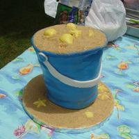 Bucket With Sand (My Nightmare Cake)  Procrastination is an ugly thing, threw it together in about 3-4 hours. Everyone loved it anyways--even lopsided, bulging, and falling...
