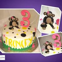 Monkey Cake This a monkey cake for a little girl. The cake was iced in buttercream and the decorations were made out of fondant.