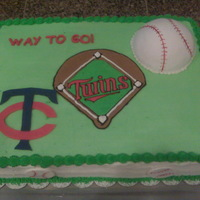 Twins Baseball Cake This was made for my son's T-ball team's party.Buttercream w/ fondant accents.