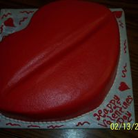 Red Lips   Did this for a friends fiance' Cut it out from a square cake.
