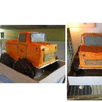 Orange Lifted Truck Vanilla cake loaf and mini pan. Layered with chocolate ganache. Tires are made out of rice crispy treats and dipped in dark chocolate....