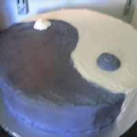 "Ying Yang Made for my Tae Kwon Do instructors going away party. 14"" Round, 3 layered. Marble Cake (killer chocolate & my vanilla cake)...."