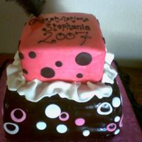Hot Pink & Black Fondant covered Chocolate cake. I used the airbrush (which I should have bought YEARS ago!!!) Lots of fun to make! Cookie cutters to make...
