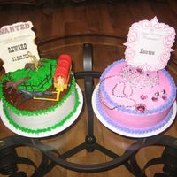 Cowboy & Princess Cakes I made these two cakes this past weekend for two children. They were brother and sister.