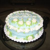 Baby Blue Cake With Flowers