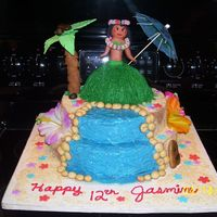 "Luau Cake 12: round, 8 "" round; 1/2 ball pan cakes iced in buttercreme, sand is graham cracker crumbs & white sugar, hula girl formed from..."