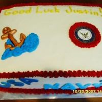 Serving Our Country Buttercream icing. Fondant accents. 11x15 double layer cake.