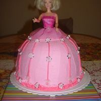 Barbie Cake Hello there! This is a chocolate cake with buttercream frosting. If I can recall what pans I used for the body-It was made with two 8in...